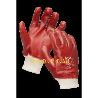 Перчатки рабочие МБС красные с мягким манжетом V-V
