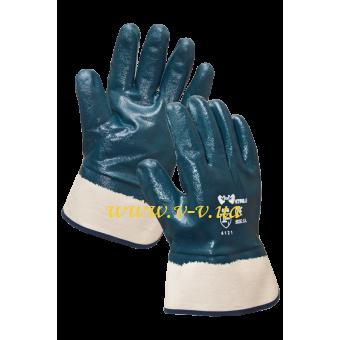 Перчатки рабочие нитриловые синие жесткий манжет утепленные V-V