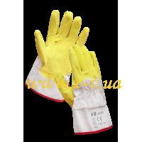 Перчатки рабочие латексные стекольщика желтые V-V